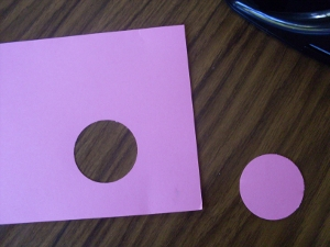 Save the punched circle for another project. This time we need to work on the negative space!
