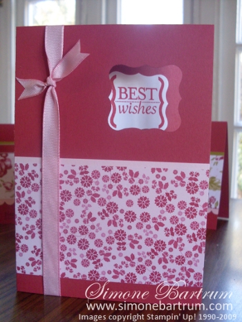 Best Wishes card featuring the Cute & Curly punch bundle and Bella Rose DSP