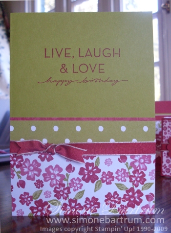 On Your Birthday stamp set and Bella Rose DSP
